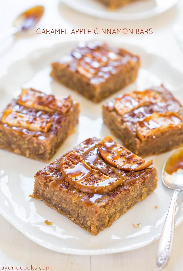Caramel Apple Cinnamon Bars - Super soft, moist, chewy and all the flavor of caramel apples minus the stick! You're going to love these!