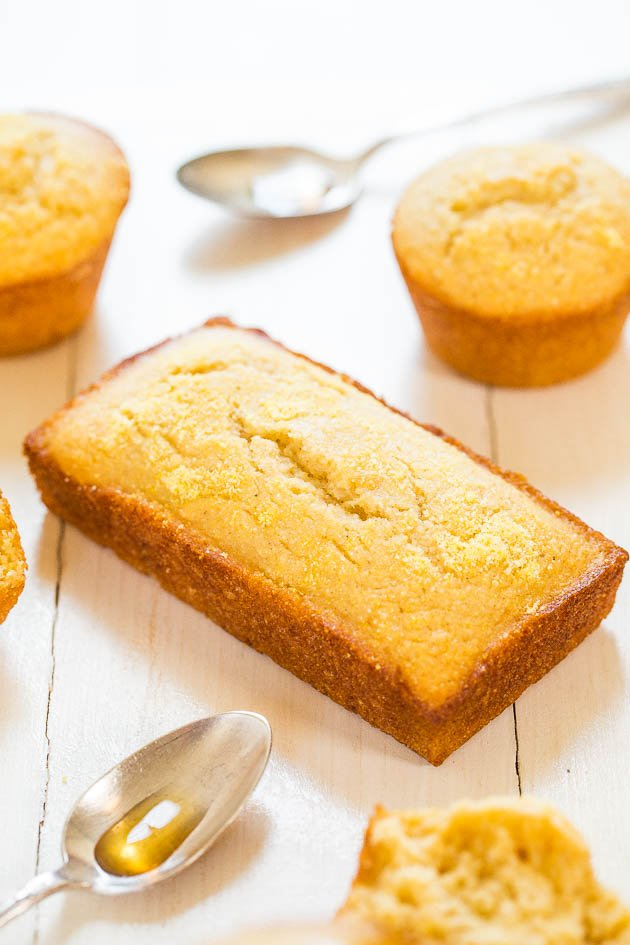 Honey Cornbread Muffins - Finally cornbread that's not dry! Fluffy, moist and sweetened with honey! You'll love this sweet cornbread!
