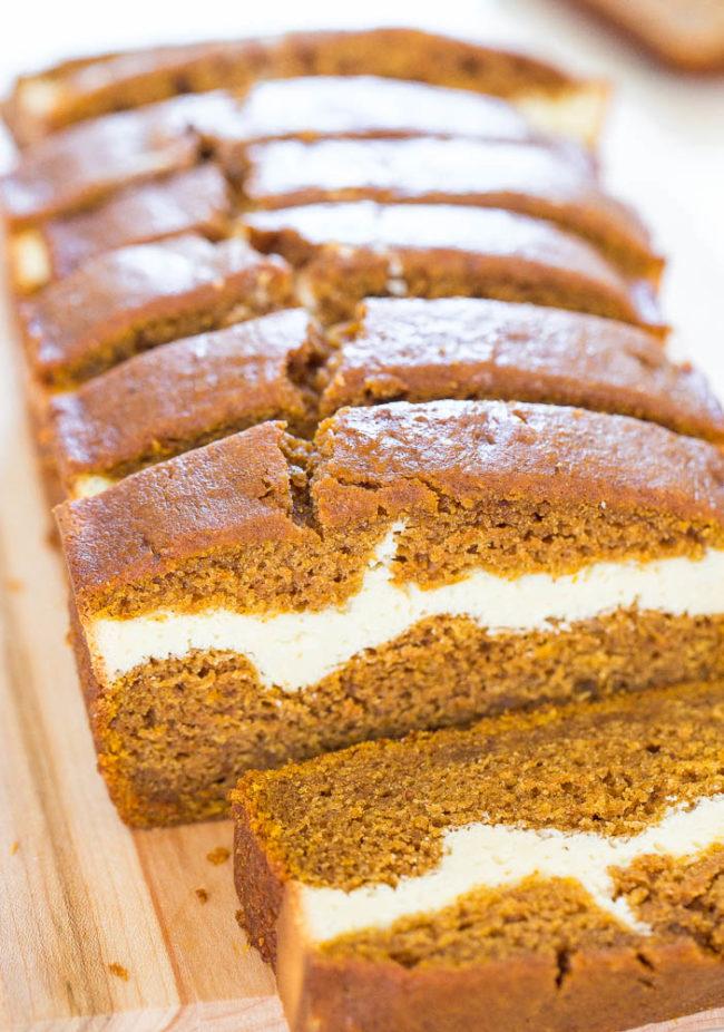 Sliced Cream Cheese-Filled Pumpkin Bread