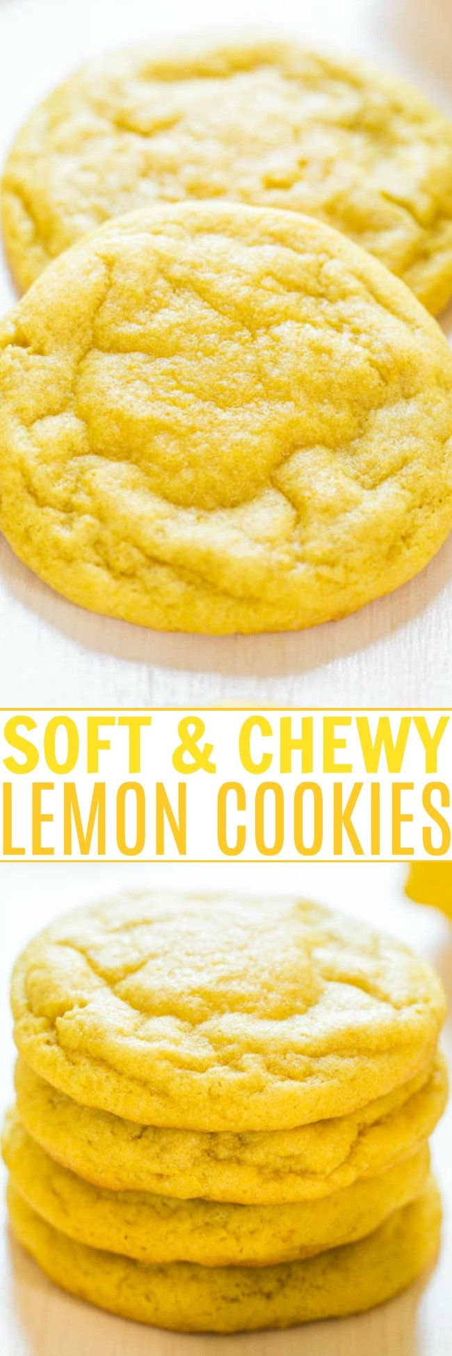 Soft and Chewy Lemon Cookies — Packed with big, bold lemon flavor for all you lemon lovers! They're soft, chewy and not at all cakey!