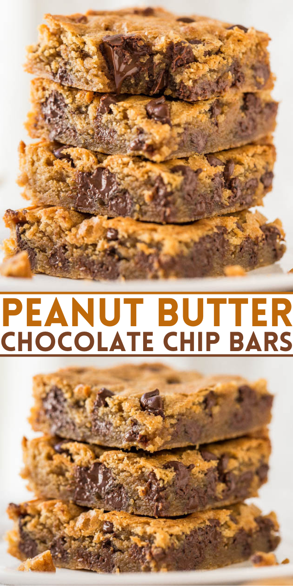 Peanut Butter Chocolate Chip Bars — These peanut butter chocolate bars are loaded with chocolate chips and creamy peanut butter. This is a one-bowl dessert you're bound to love!