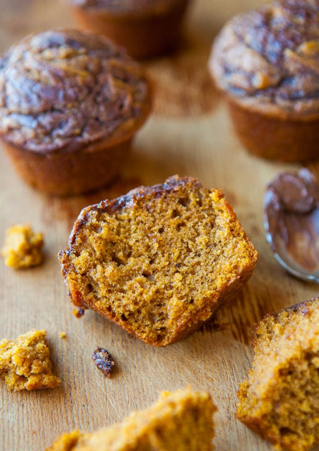 Nutella-Swirled Pumpkin Muffins