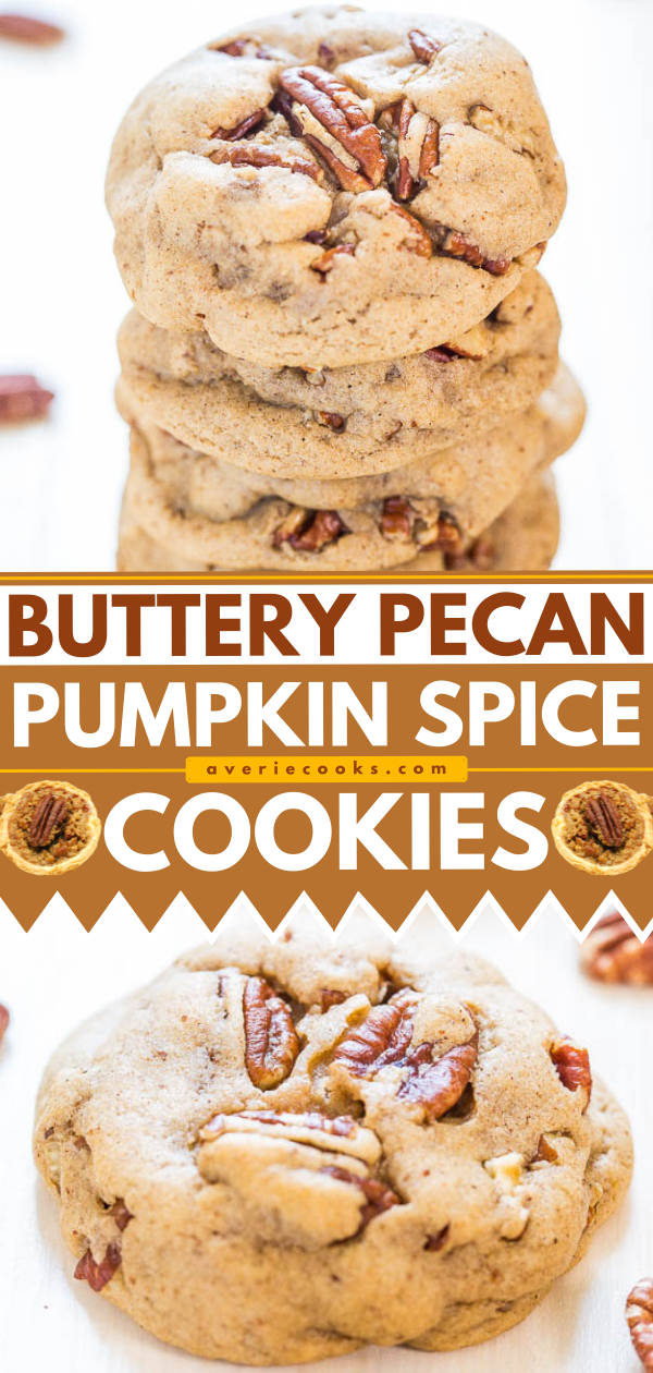 Soft Butter Pecan Cookies — Buttery soft dough with big chunky pecans in every bite! Salty-and-sweet and so hard to resist!!
