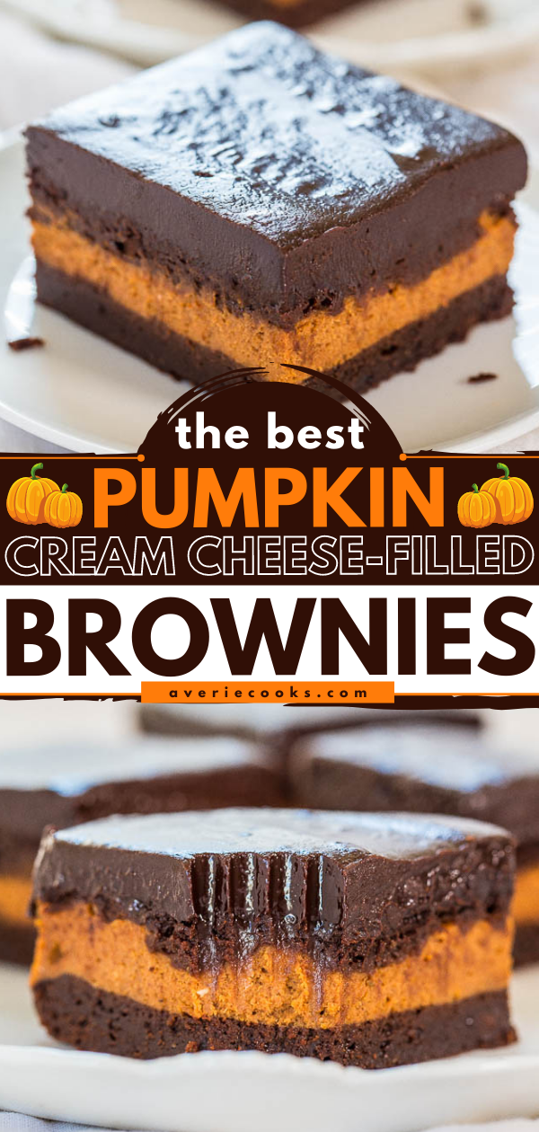 The Best Pumpkin Cheesecake Brownies — A layer of pumpkin cheesecake inside fudgy brownies, all topped with a homemade chocolate ganache. Chocolate overload? Yes. Worth it? YES!!!
