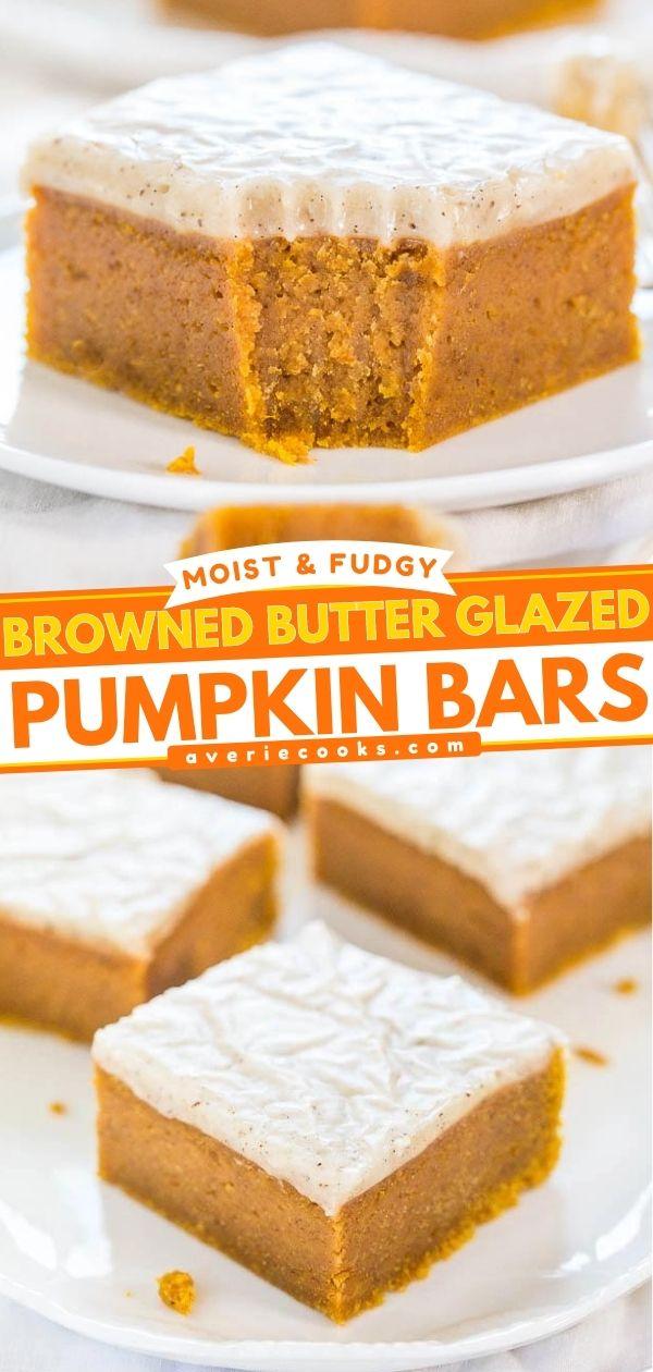 Fudgy Pumpkin Bars — Dense pumpkin bars so soft they're like biting into pumpkin fudge!! The glaze is ahh-mazing!!!