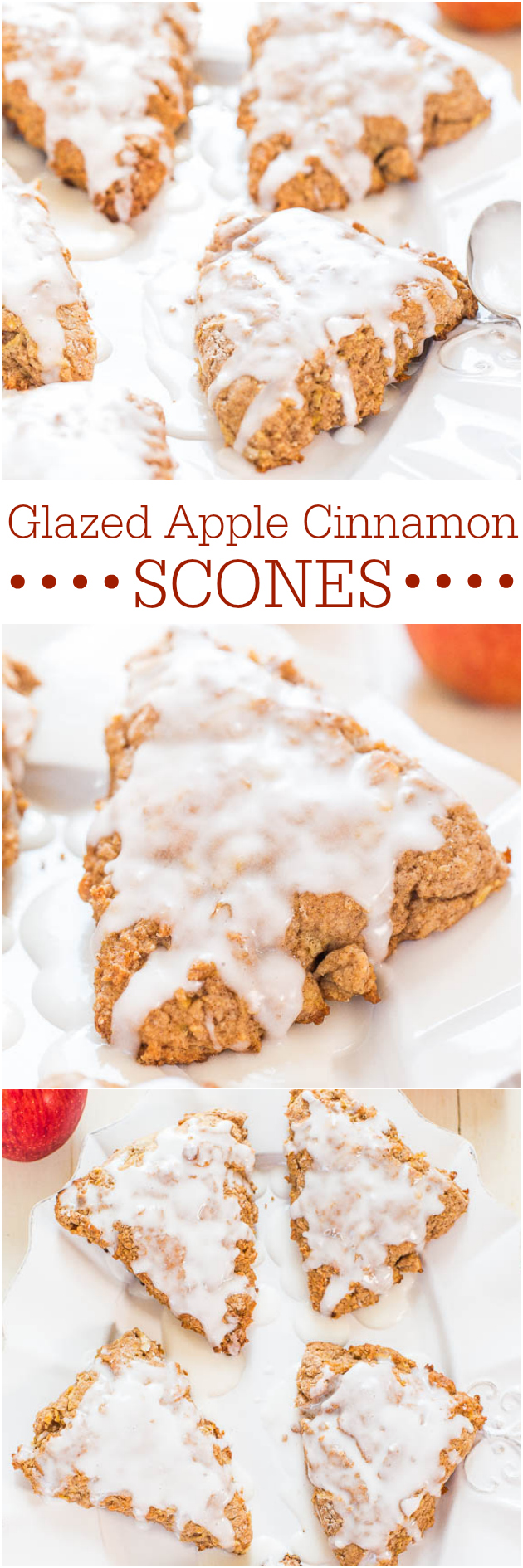 Glazed Apple Scones — Finally, scones that aren't dry! The perfect fall comfort food packed with apples, cinnamon and that glaze!!