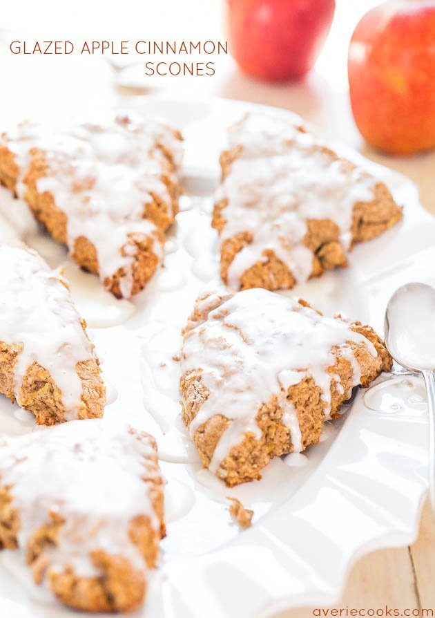 five apple scones on a white platter
