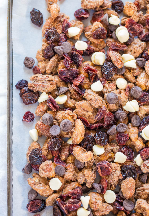 Cinnamon Sugar Candied Nuts Trail Mix - Candied nuts like you get at the mall with trail mix add-ins. This stuff is dangerously good!!