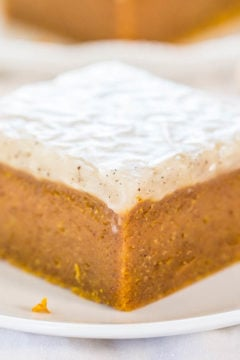 Fudgy Pumpkin Bars with Vanilla Bean Browned Butter Glaze