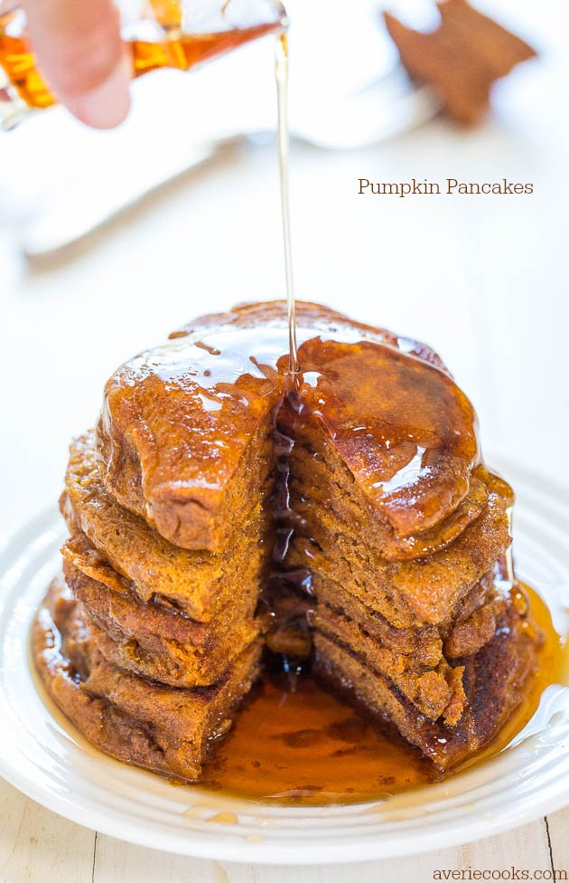 Pumpkin Pancakes - Soft, fluffy, and packed with big pumpkin flavor! Perfect comfort food for chilly mornings when a smoothie just won't do!