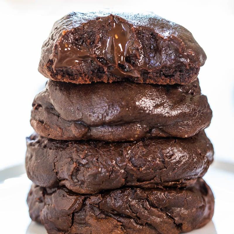 Triple Chocolate Brownie Batter Cookies - Averie Cooks