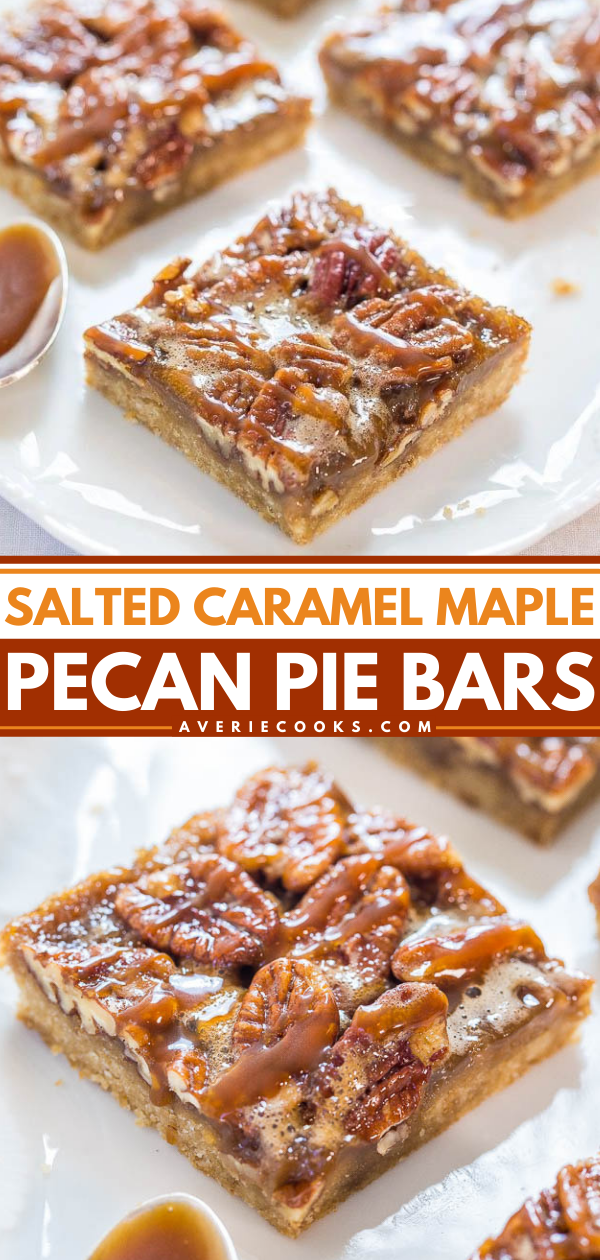 Salted Caramel Maple Pecan Pie Bars— This pecan pie bars recipe is a fast, one-bowl, no-mixer recipe, but the bars taste like you slaved over them. So much easier than making pecan pie!
