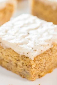 Banana Bread Bars with Vanilla Bean Browned Butter Glaze