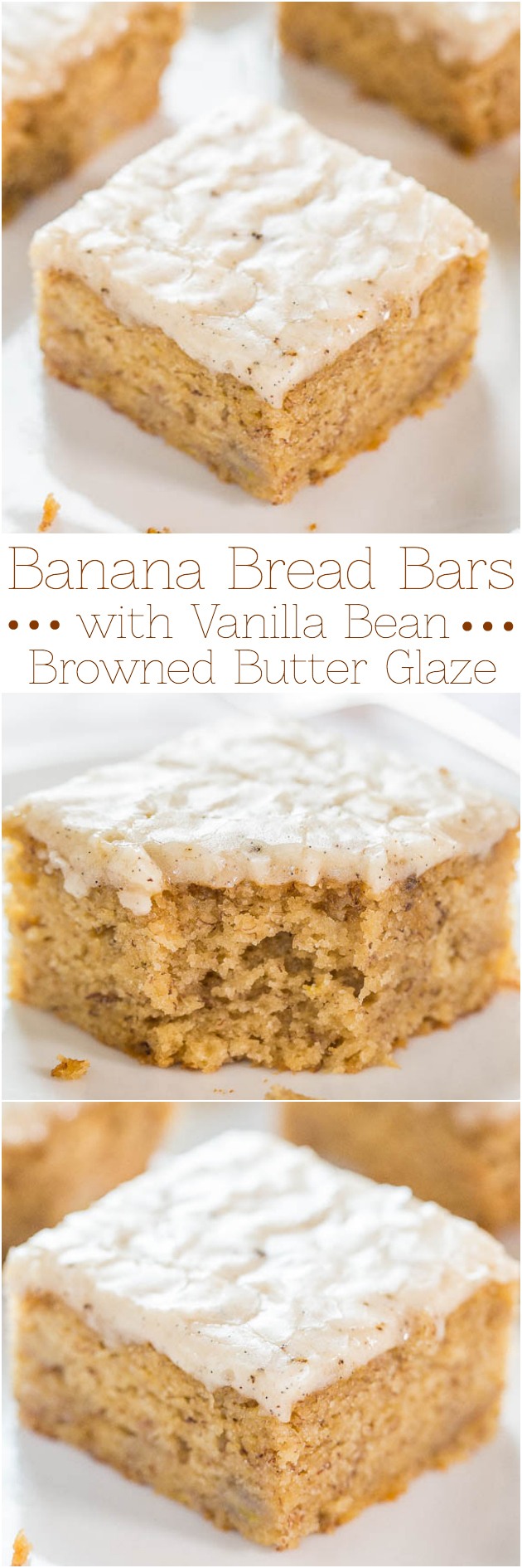 Glazed Banana Bread Bars — Banana bread in bar form with a glaze that soaks in and is just so darn good! Dense enough to be satisfying, but still perfectly light, fluffy, and packed with rich banana flavor!