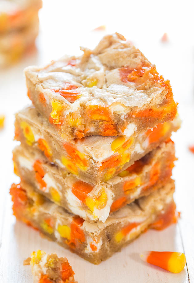 halloween blondies stacked on top of each other