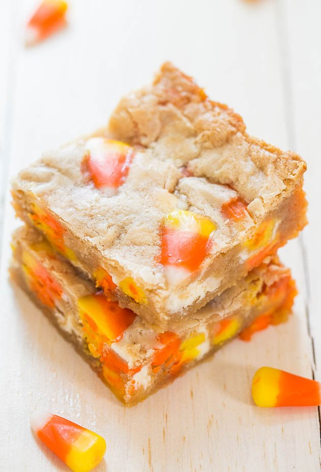 two Candy Corn White Chocolate Blondies stacked atop each other