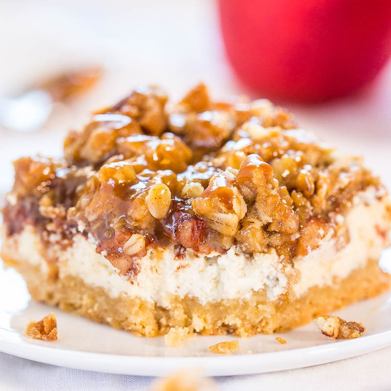 Caramel Apple Cheesecake Crumble Bars - Averie Cooks