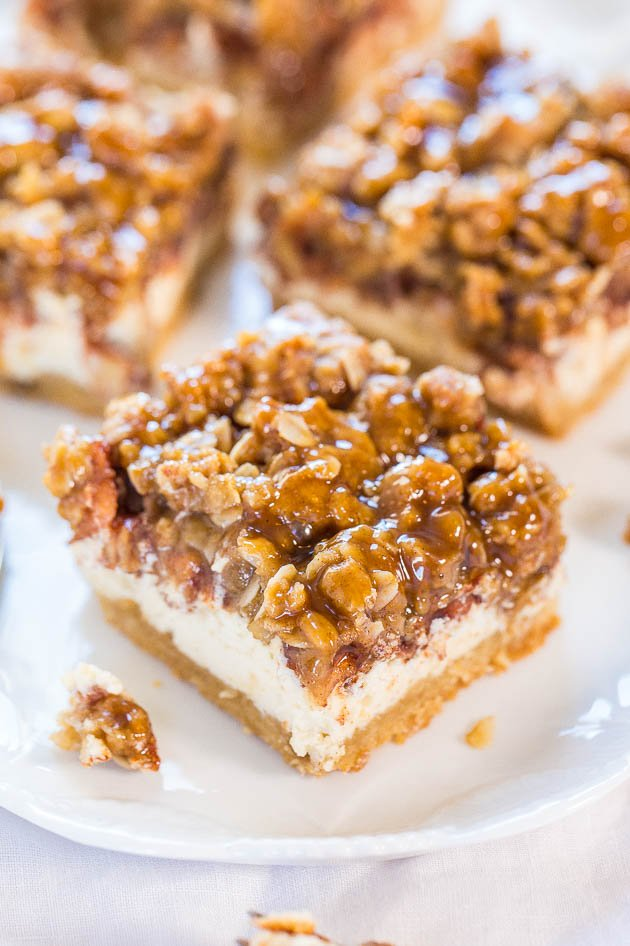 Caramel Apple Cheesecake Crumble Bars - Move over apple pie! These are ...