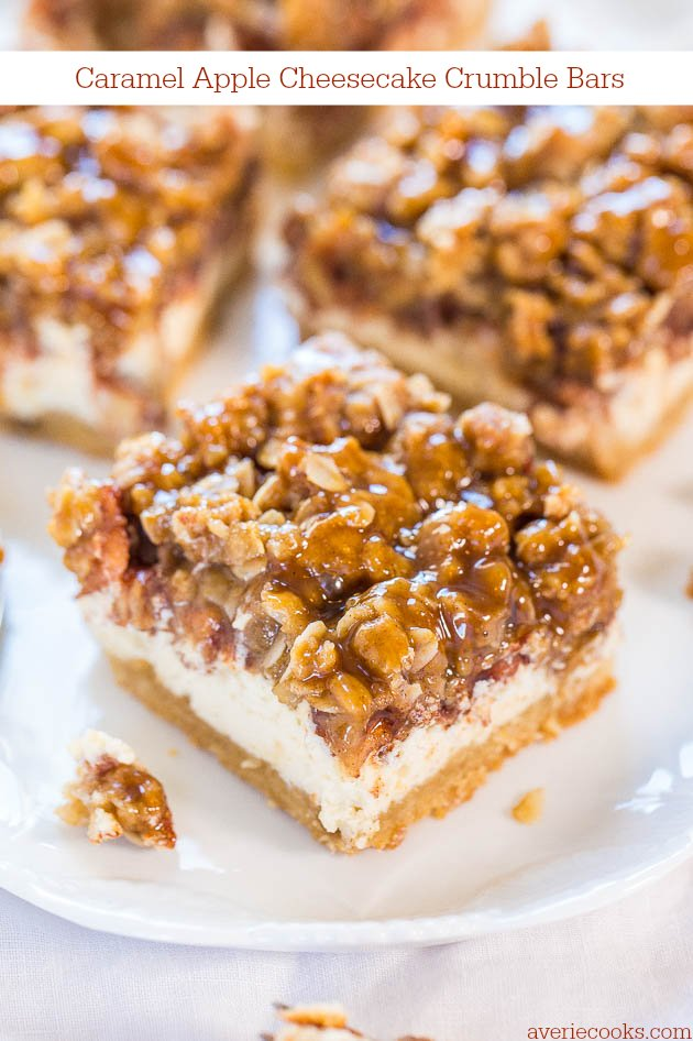 Caramel Apple Cheesecake Crumble Bars - Averie Cooks