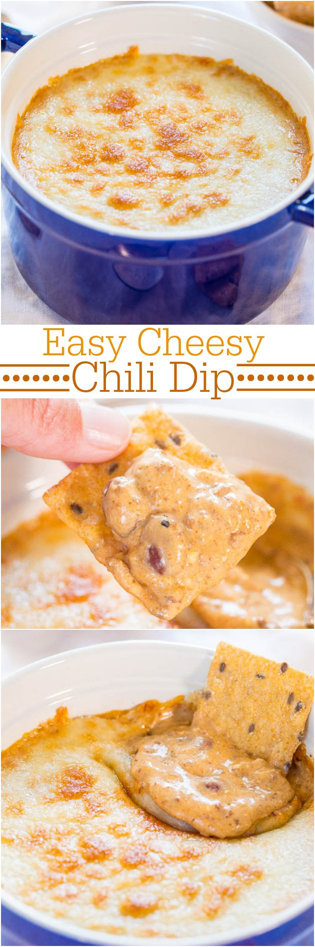 Easy Cheesy Chili Dip - Just a few ingredients and 5 mins is all you need for this super easy dip packed with flavor! And CHEESE! So good!!!