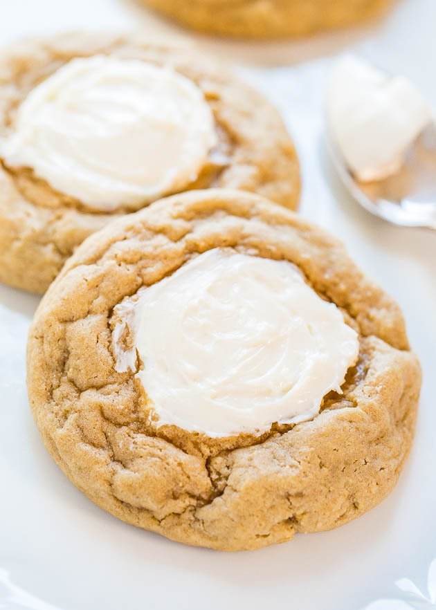 Cream Cheese Cookies - Big, soft, buttery cookies with sweet and tangy cream cheese in the middle!! Oh my....Best thumbprints ever!!!