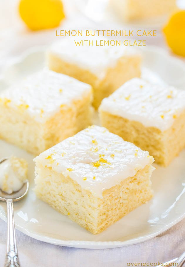 Lemon Buttermilk Cake with Lemon Glaze - An easy little cake with big ...