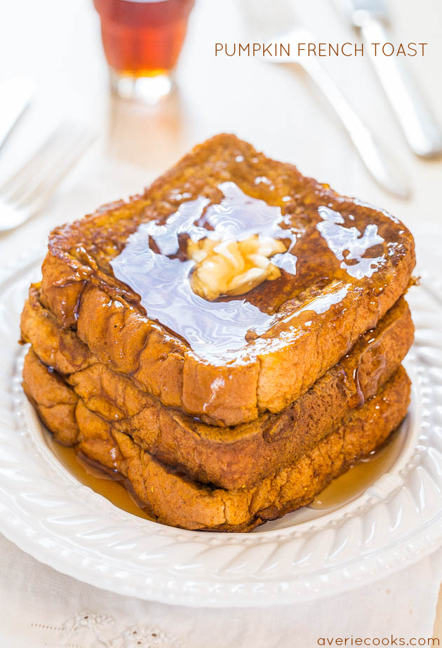 three slices of Pumpkin French Toast topped with butter and maple syrup