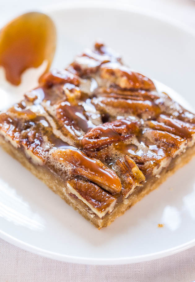 877a9f5a02bf Salted Caramel Maple Pecan Pie Bars - Averie Cooks
