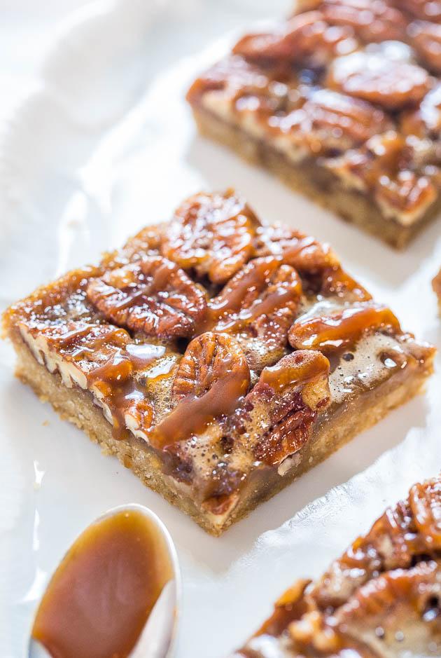 Salted Caramel Maple Pecan Pie Bars