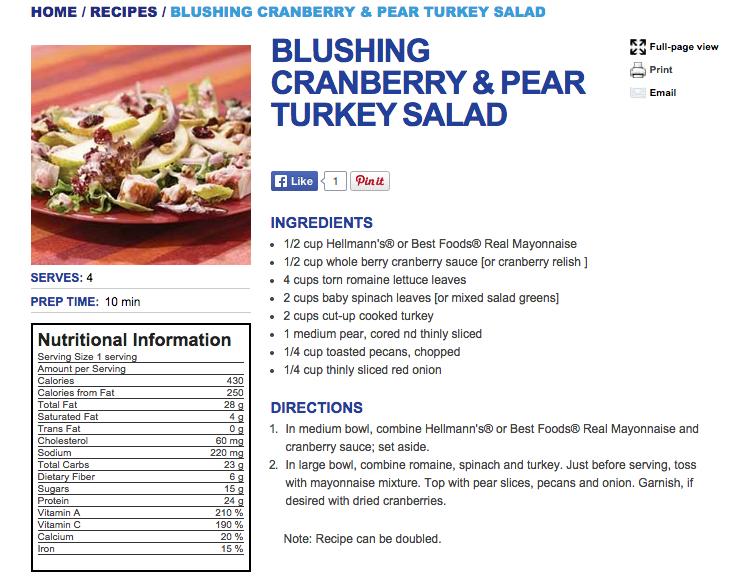 Best Foods Turkey Cranberry Casserole Recipe