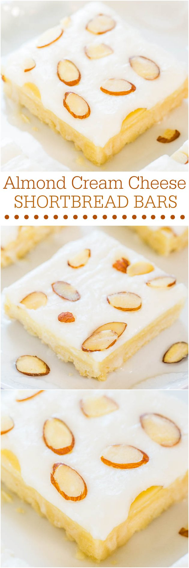 Almond Cream Cheese Shortbread Bars - Easy, buttery shortbread is topped with cream cheese..mmm! Plus irresistible almond frosting!!