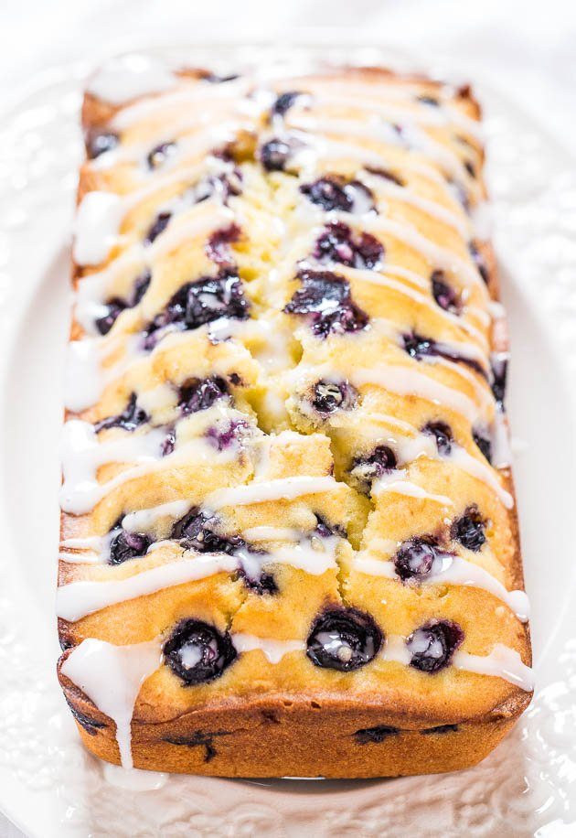 Lightened Up Blueberry Lemon Pound Cake on a white plate