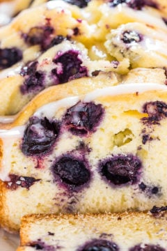 Lightened Up Blueberry Lemon Pound Cake