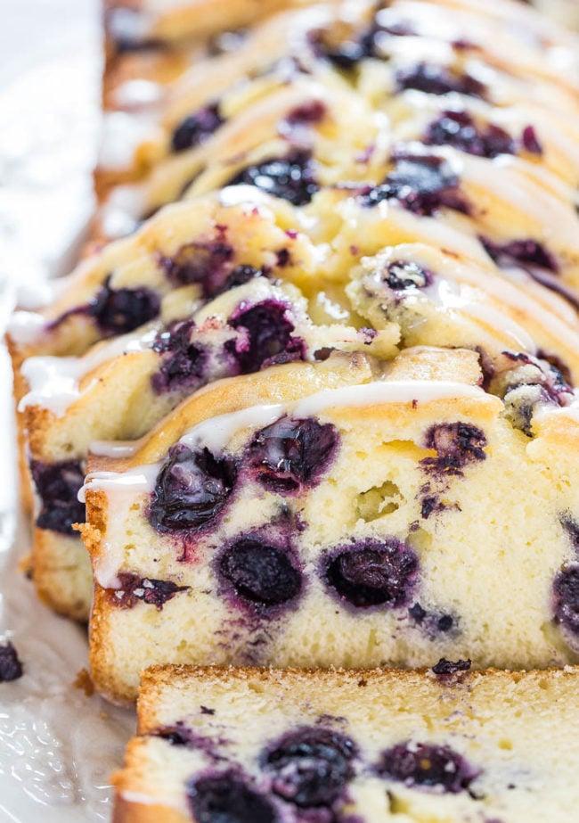 Lightened Up Blueberry Lemon Pound Cake slices