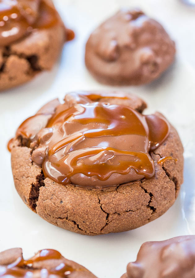 Overhead picture of Chocolate Peanut Butter Turtle Cookies on a white plate