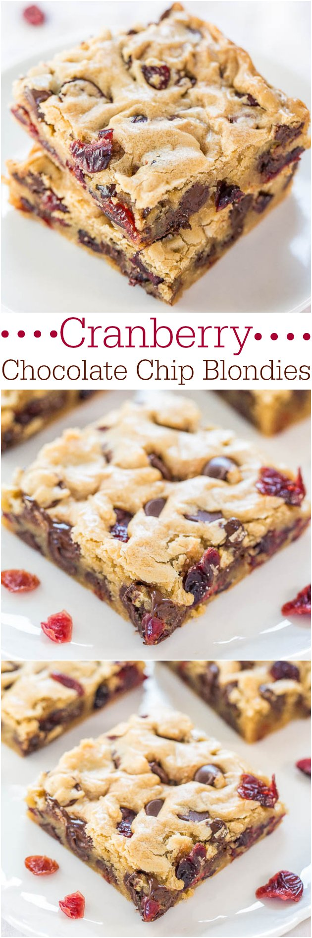 Chocolate Chip Cranberry Bars — Super soft, buttery bars packed with chewy cranberries! And there's a chocolate overload in every bite!!