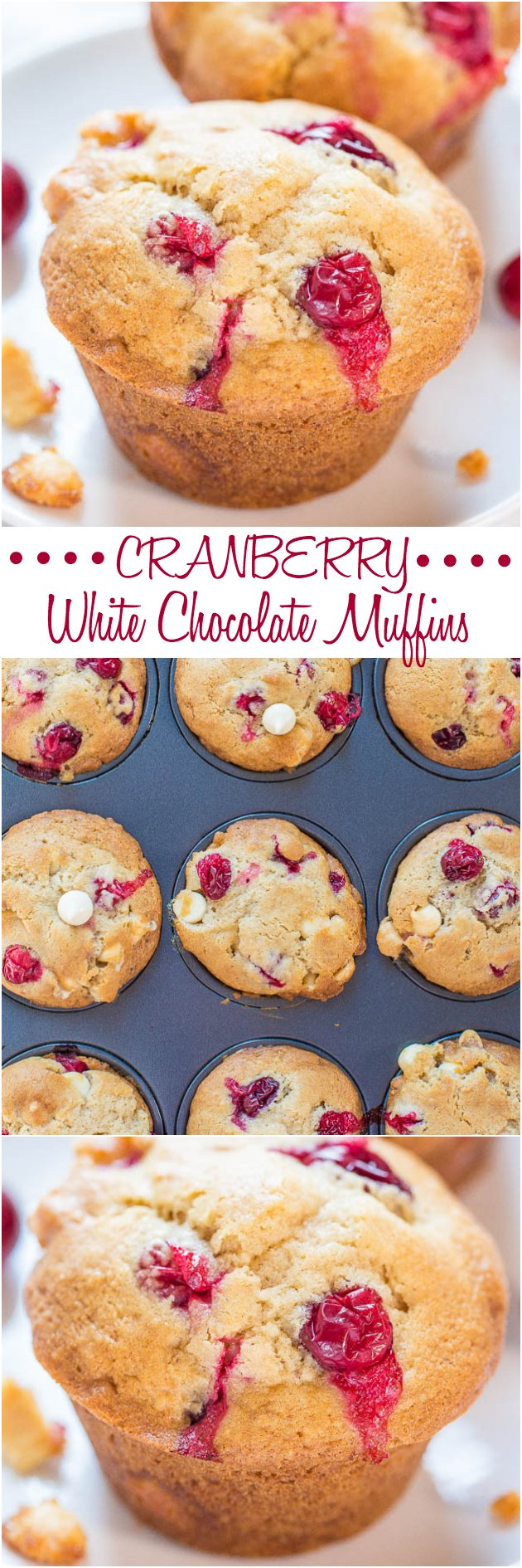 White Chocolate Cranberry Muffins — Soft, fluffy, and bursting with cranberries in every bite! Perfect way to use your fresh cranberries!!
