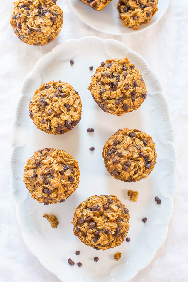 oatmeal chocolate chip muffins with pumpkin on white platter
