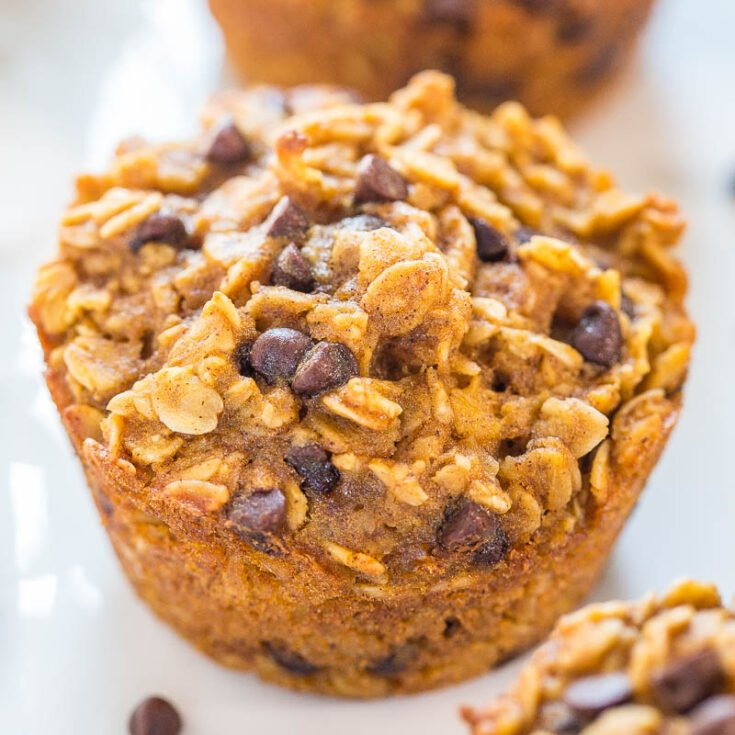 Oatmeal To-Go Pumpkin Chocolate Chip Muffins