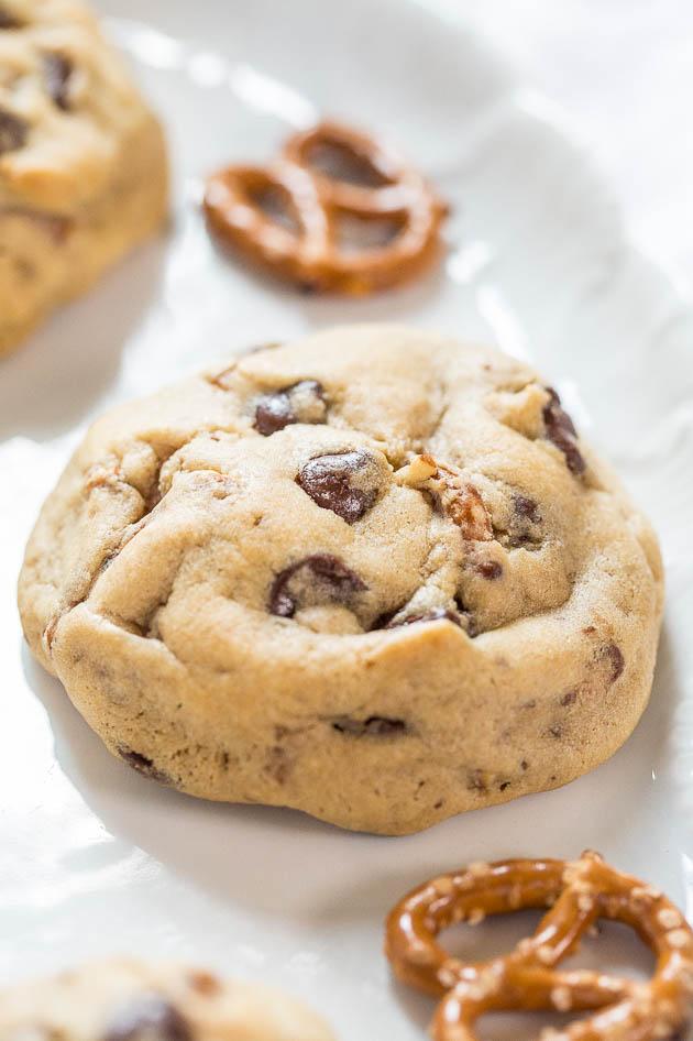 chocolate chip pretzel cookie on a white platter