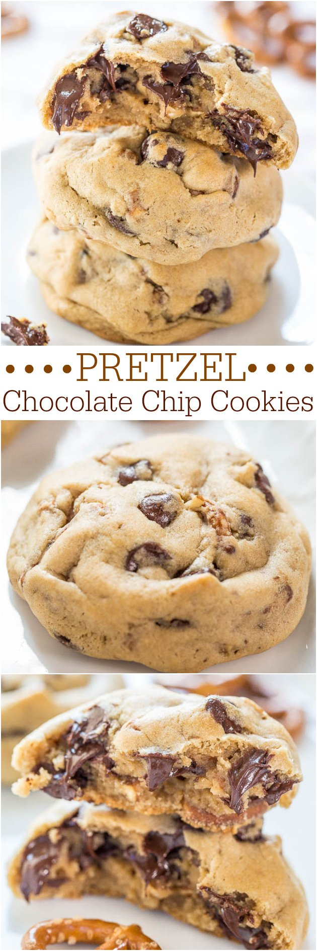 Chocolate Chip PretzelCookies — Soft chocolate chip cookies packed with chocolate chips and crunchy pretzels!! Salty-and-sweet all in one!!