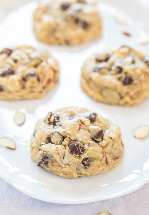 Almond Joy Cookies - If you like Almond Joy bars you're going to love these! Soft, chewy and loaded with coconut, almonds and dark chocolate!! Mmm!