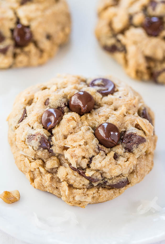 three oatmeal coconut chocolate chip cookies