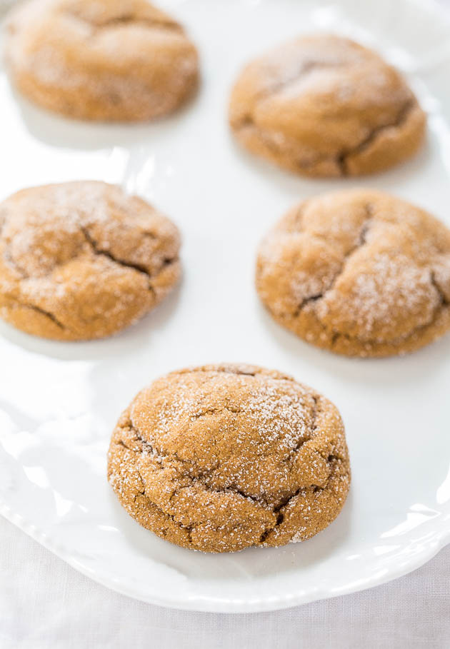 ginger molasses cookies on white serving platter