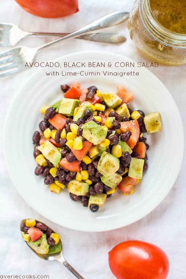 Buffalo chicken burrito bowls averie cooks avocado black bean and corn salad with lime cumin vinaigrette everything tastes better forumfinder Choice Image