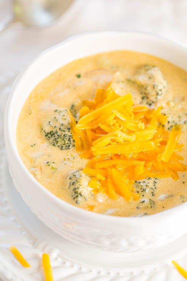 Copycat Panera Broccoli Cheese Soup in a white bowl