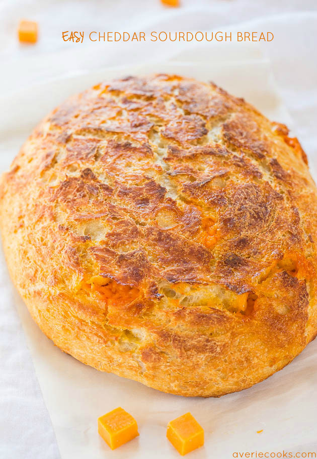 No starter required and so easy! It tastes like it's from a fancy bakery! Who can resist homemade cheesy bread!!