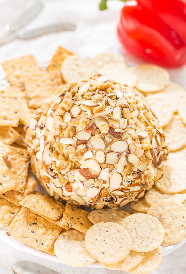 Easy Jalapeño and Red Pepper Cheese Ball - Just spicy enough that the more you have, the more you want!! A fast, easy, and foolproof hit!!