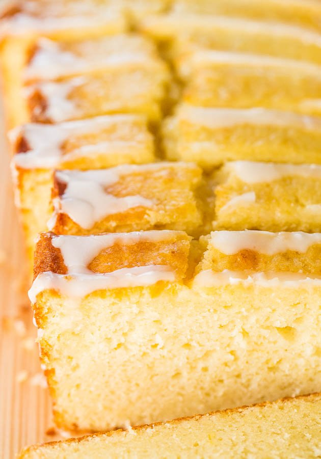 Close up of sliced The Best Lemon Loaf (Better-Than-Starbucks Copycat)