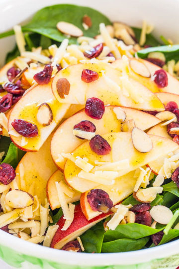 Apple, White Cheddar, and Spinach Salad with Honey-Apple Cider Vinaigrette